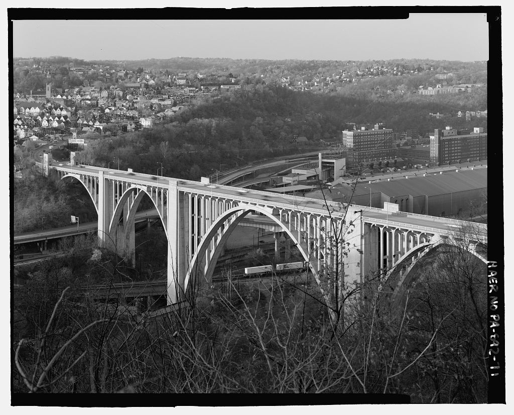 The George Westinghouse Bridge carries U.S. 30 over the Turtle Creek Valley in the borough of East Pittsburgh, Pa. (Photo by Joseph Eliott via the Library of Congress Prints and Photographs Division Washington)