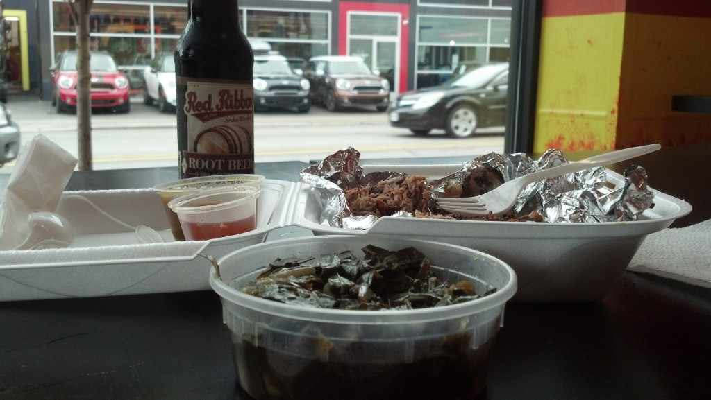 Pork, brisket, collards and local root beer at YinzBurgh BBQ on Baum Boulevard on Pittsburgh's historic Auto Row, part of the original Lincoln Highway. (Photo by Michael Grass)