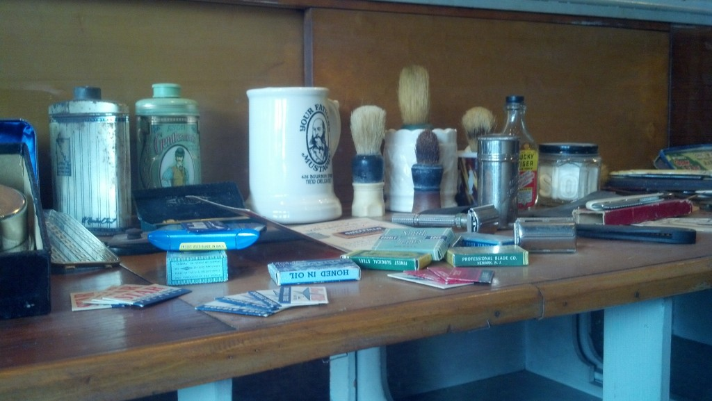 Adam Wilson's collection of vintage and antique shaving and barbering items is on full display at his barbershop in La Porte, Ind. (Photo by Michael E. Grass)