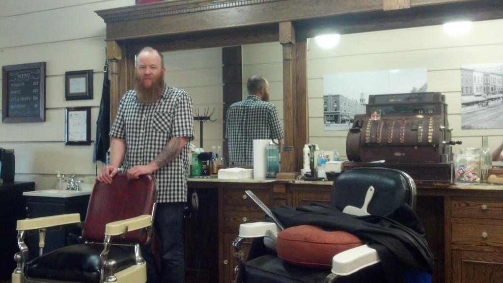 Adam Wilson in his barbershop in La Porte, Ind. (Photo by Michael E. Grass)