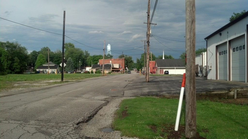 Indiana State Highway 2 bypasses Main Street, seen here, in tiny Westville. (Photo by Michael E. Grass)