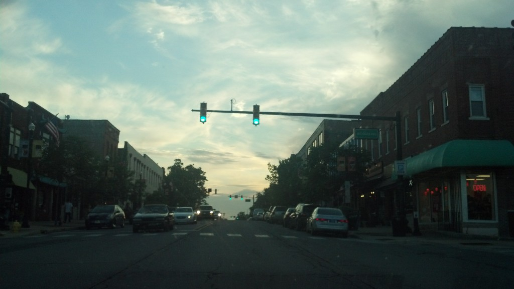 Lincolnway around sunset in downtown Valparaiso, Ind. (Photo by Michael E. Grass)