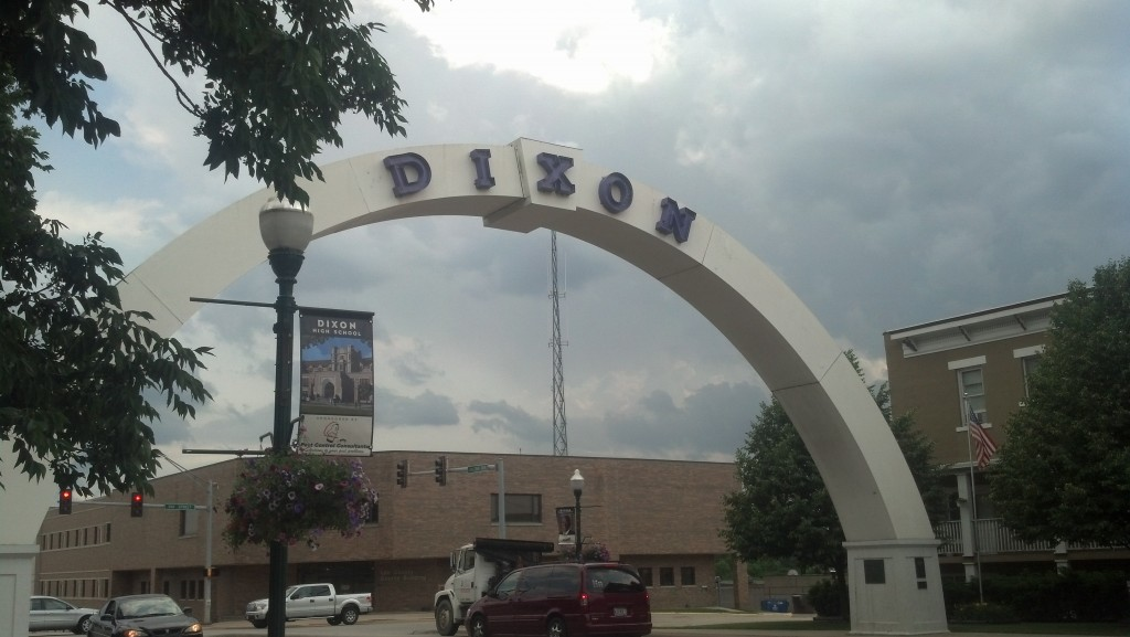The dark clouds behind the big arch in Dixon, Ill., would blow up into a massive storm as it moved east. (Photo by Michael E. Grass)