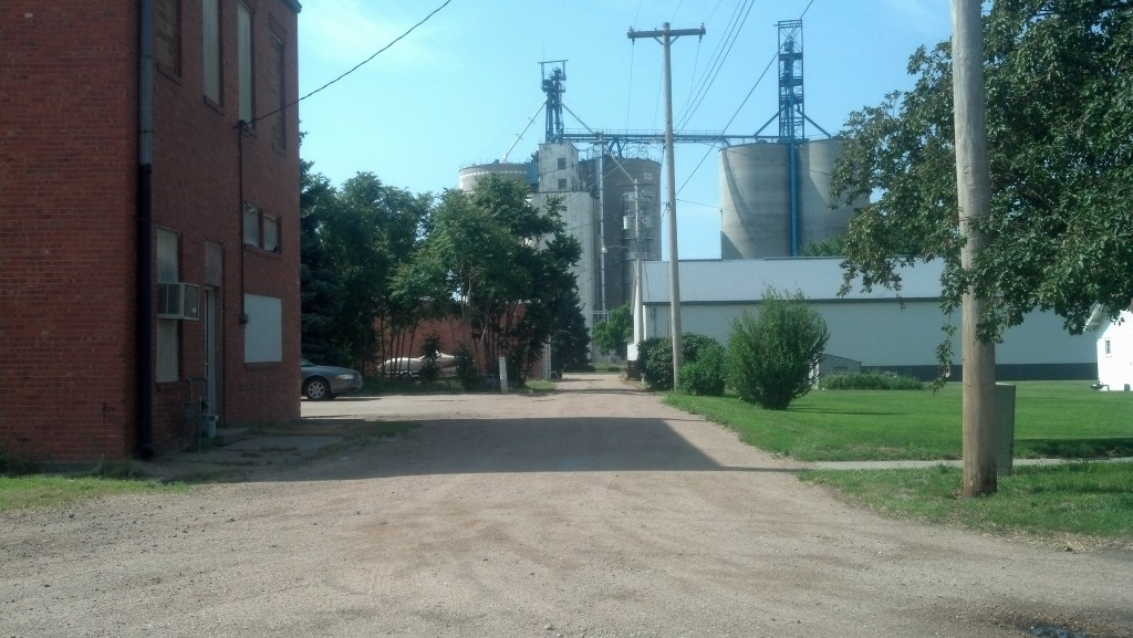 Looking toward U.S. 30, a grain elevator towers over Overton, Neb. (Photo by Michael E. Grass)