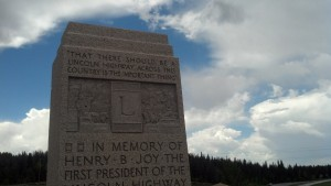 Another monument to the Lincoln Highway near Laramie, Wyo. (Photo by Michael E. Grass)
