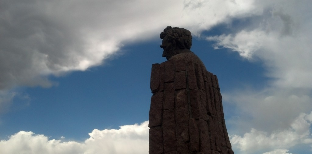 At a rest area along east of Laramie, Wyo., a towering statue of Abraham Lincoln is visible from Interstate 80. (Photo by Michael E. Grass)
