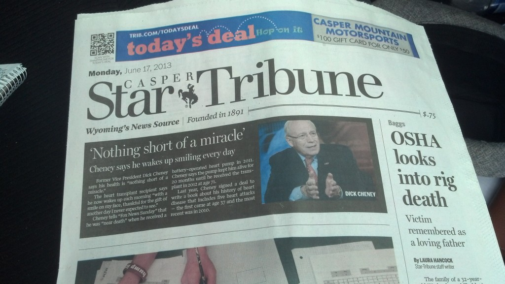 Dick Cheney is above the fold in the Casper Star Trubine. (Photo by Michael E. Grass)