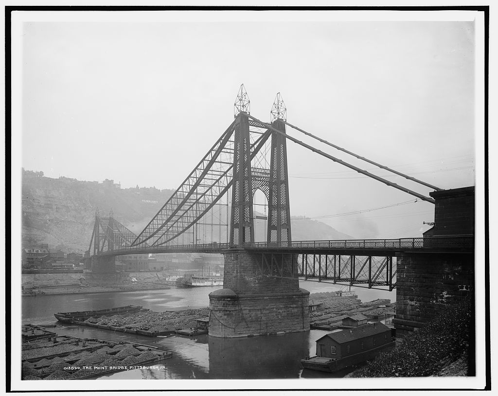 Pittsburgh's Point Bridge, seen here in 1900, was the first of three bridges to span the Monongahela River right before it meets the Allegheny River to form the Ohio River. (Photo by the Detroit Publishing Co. via the Library of Congress Prints and Photographs Division)