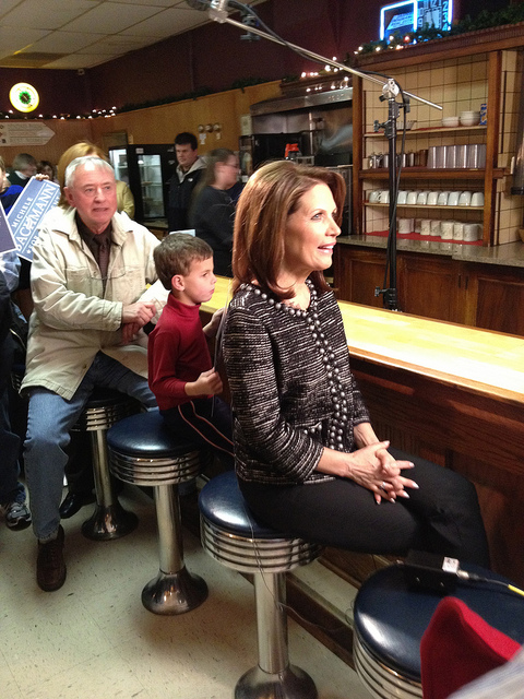 U.S. Rep. Michele Bachmann on the 94th stop of her 99-county tour in the run up to the 2012 Iowa Caucuses. (Photo by WEBN-TV via Flickr/CC BY-ND 2.0 >>)