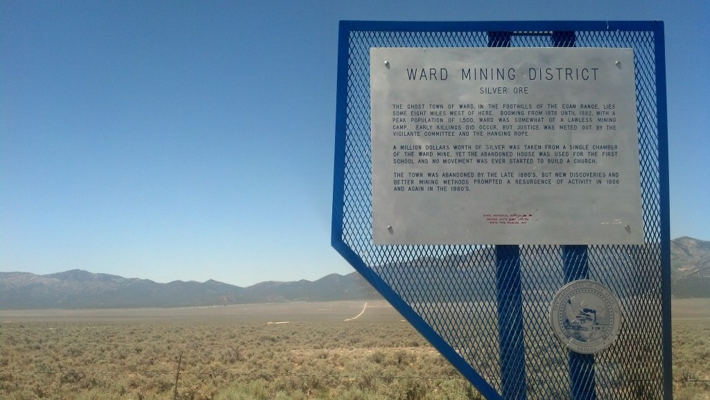 "A historic marker near the ghost town of Ward, Nev., notes how the ""vigilante committee and the hanging rope"" helped keep the peace. (Photo by Michael E. Grass)"