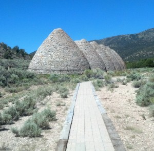 The abandoned charcoal ovens at Ward, Nev., are open to the public. (Photo by Michael E. Grass)