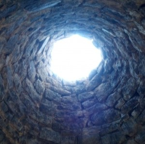 Looking up through one of the charcoal ovens. (Photo by Michael E. Grass)