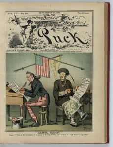 This cover illustration from the Sept. 16, 1885, edition of Puck magazine depicts Uncle Sam and a Chinese map preparing lists of where Chinese had been killed in the United States. (Courtesy the Library of Congress Prints and Photographs Division >>)
