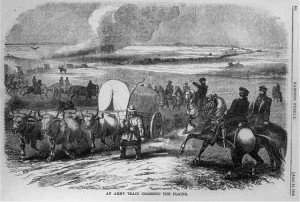 An Army train crosses the Great Plains en route to Utah. (Harpers Weekly, April 24, 1858, via Library of Congress Prints and Photographs Division >>)