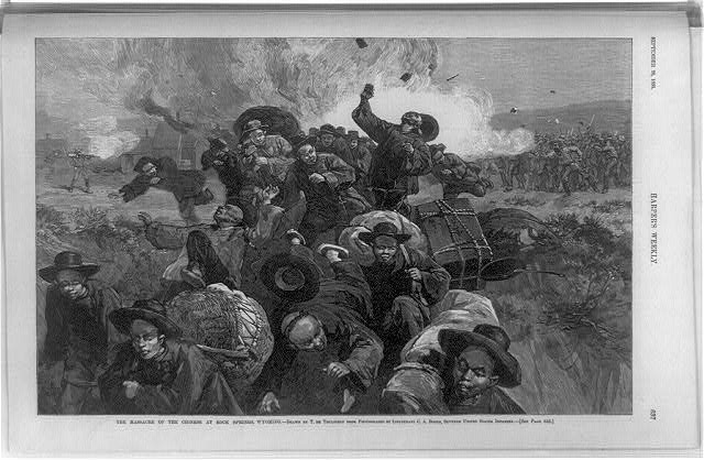 An illustration from Harper's Weekly of the massacre at Rock Springs, Wyo. (Engraving by Thure de Thulstrup courtesy the Library of Congress Prints and Photographic Division >>)