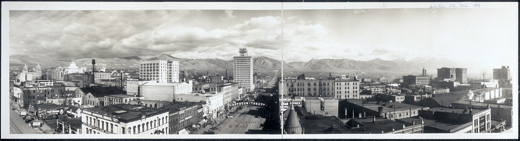 Salt Lake City, as seen in 1913 (Photo by Johnson Co. via the Library of Congress Prints and Photographs Division >>)