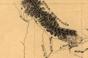 A section of the detailed map made as part of John Fremont's western expeditions. (Courtesy the Library of Congress >>)