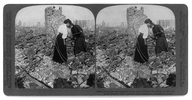 Two woman search the ruins of San Francisco in the aftermath of the 1906 earthquake and fire. (Photo via Library of Congress Prints and Photographs Division >>)