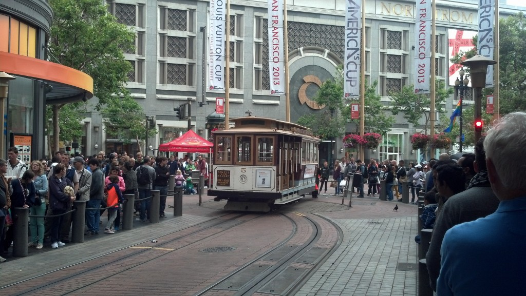 The Powell-Mason cable car at its terminus at Market Street in San Francisco. (Photo by Michael E. Grass)