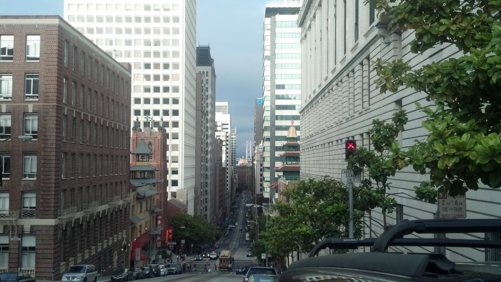 Looking east along California Street from Nob Hill in San Francisco. (Photo by Michael E. Grass)