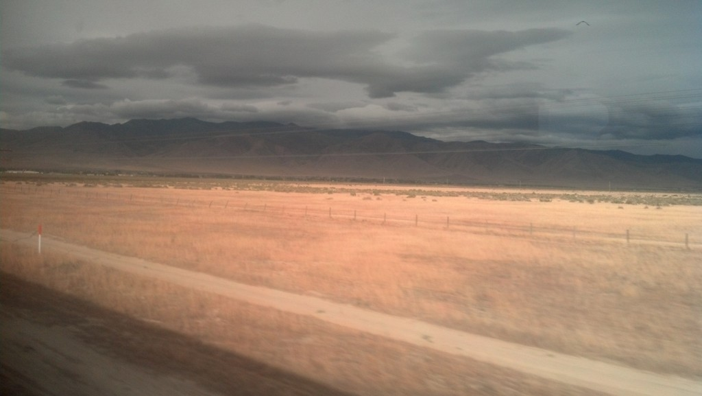 Racing toward dusk through northern Nevada on Amtrak's California Zephyr (Photo by Michael E. Grass)
